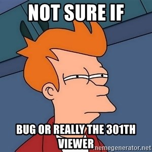 Futurama Fry - Not sure if bug or really the 301th viewer