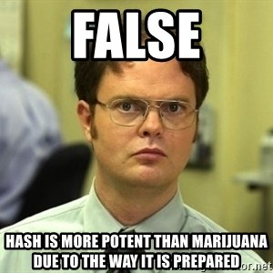 Dwight Schrute - False Hash is more potent than marijuana due to the way it is prepared