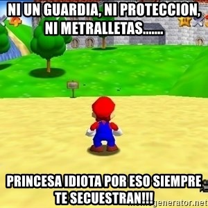 Mario looking at castle - ni un guardia, ni proteccion, ni metralletas....... princesa idiota por eso siempre te secuestran!!!
