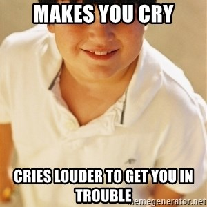 Annoying Childhood Friend - makes you cry cries louder to get you in trouble