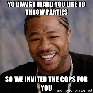 Yo Dawg - yo dawg i heard you like to throw parties so we invited the cops for you