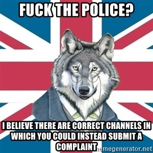 Sir Courage Wolf Esquire - Fuck the police? I believe there are correct channels in which you could instead submit a complaint