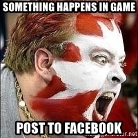 Hockey Fan - SOMETHING HAPPENS IN GAME POST TO FACEBOOK