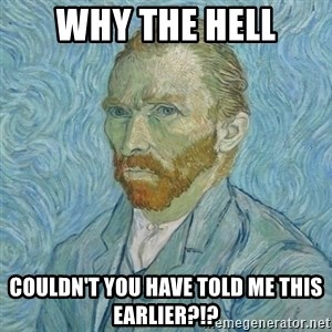 Vincent Van Gogh - Why the hell couldn't you have told me this earlier?!?