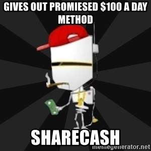 TheBotNet Mascot - Gives out promiesed $100 a day method Sharecash