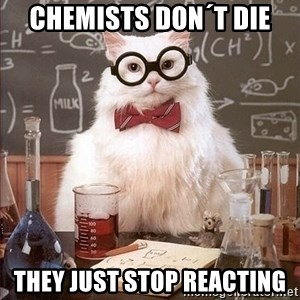 Chemistry Cat - chemists don´t die they just stop reacting