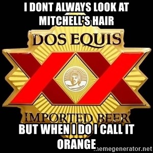 Dos Equis - I DONT ALWAYS LOOK AT MITCHELL'S HAIR BUT WHEN I DO I CALL IT ORANGE