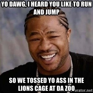 Yo Dawg - yo dawg, i heard you like to run and jump so we tossed yo ass in the lions cage at da zoo