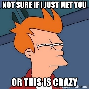 Futurama Fry - not sure if I just met you Or this is crazy