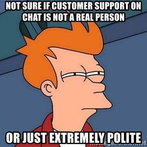 Futurama Fry - not sure if customer support on chat is not a real person or just extremely polite