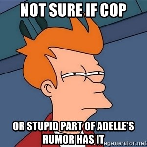 Futurama Fry - not sure if cop or stupid part of adelle's rumor has it