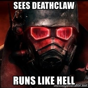 Fallout  - sees deathclaw runs like hell
