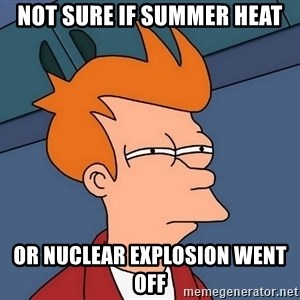 Futurama Fry - not sure if summer heat or nuclear explosion went off