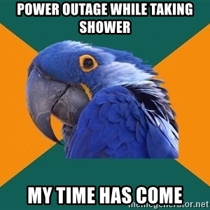 Paranoid Parrot - Power outage while taking shower my time has come
