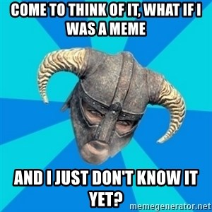 skyrim stan - Come to think of it, What if I was a meme and I just don't know it yet?