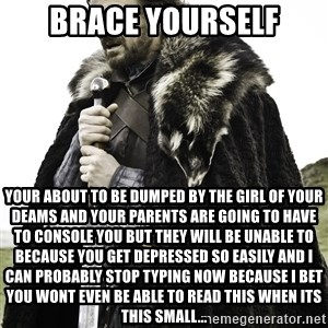 Sean Bean Game Of Thrones - brace yourself your about to be dumped by the girl of your deams and your parents are going to have to console you but they will be unable to because you get depressed so easily and i can probably stop typing now because i bet you wont even be able to read this when its this small...