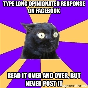 Anxiety Cat - type long opinionated response on facebook read it over and over, but never post it