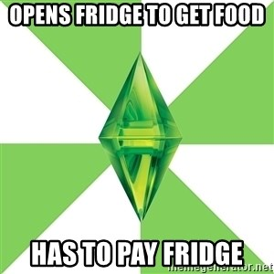 The Sims Anti-Social - opens fridge to get food HAS TO PAY FRIDGE