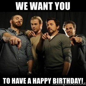 avengers pointing - we want you to have a happy birthday!