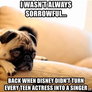 Sorrowful Pug - i wasn't always sorrowful... back when disney didn't turn every teen actress into a singer