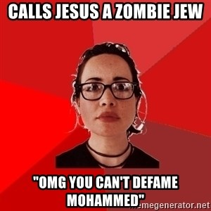 """Liberal Douche Garofalo - calls jesus a zombie jew """"OMG you can't defame Mohammed"""""""
