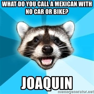 Lame Pun Coon - what do you call a mexican with no car or bike? joaquin