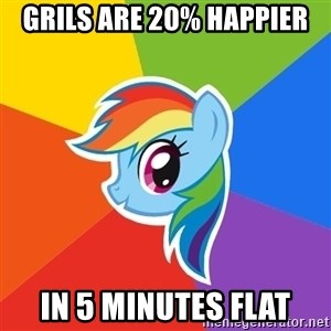 Rainbow Dash - grils are 20% happier in 5 minutes flat