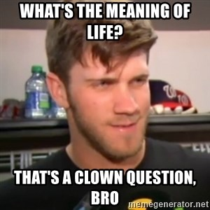 bryce harper clown question - what's the meaning of life? that's a clown question, bro