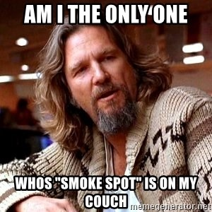 "Big Lebowski - AM I THE ONLY ONE WHOS ""SMOKE SPOT"" IS ON MY COUCH"