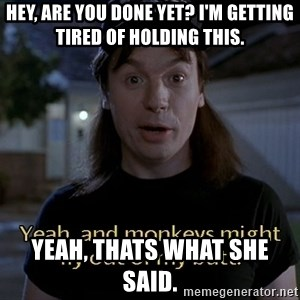 Wayne's world - Hey, are you done yet? I'm getting tired of holding this. Yeah, thats what she said.