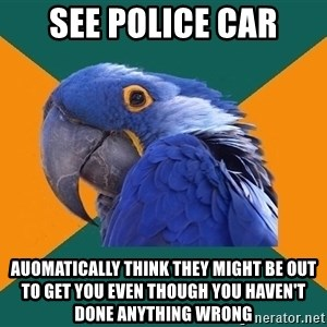 Paranoid Parrot - see police car auomatically think they might be out to get you even though you haven't done anything wrong