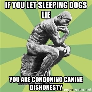 Overly-Literal Thinker - If you let sleeping dogs lie you are condoning canine dishonesty