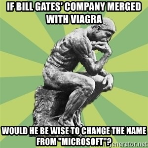 "Overly-Literal Thinker - if bill gates' company merged with viagra would he be wise to change the name from ""microsoft""?"