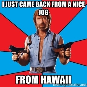 Chuck Norris  - I just came back from a nice jog from hawaii