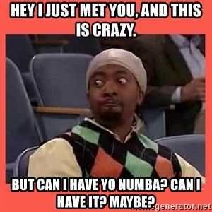 Can I have your number? - Hey i just met you, and this is crazy. but can i have yo numba? can i have it? maybe?