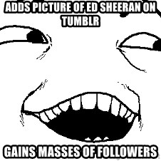 I see what you did there - Adds picture of ed sheeran on tumblr gains masses of followers