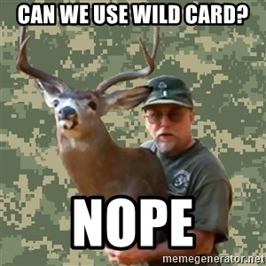 Chuck Testa Nope - can we use wild card? nope