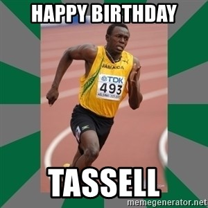 Usain Bolt - Happy birthday tassell