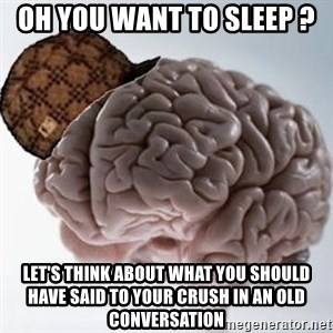 Scumbag Brain - oh you want to sleep ? let's think about what you should have said to your crush in an old conversation