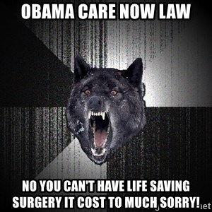 fkvowyuk - obama care now law No you can't have life saving surgery it cost to much sorry!