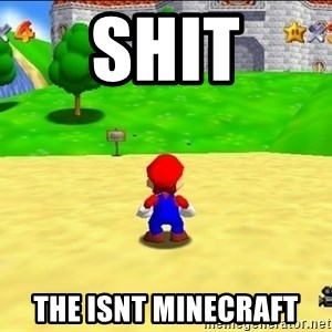 Mario looking at castle - shit the isnt minecraft