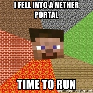 Minecraft Steve - i FELL INTO A NETHER PORTAL tIME TO RUN