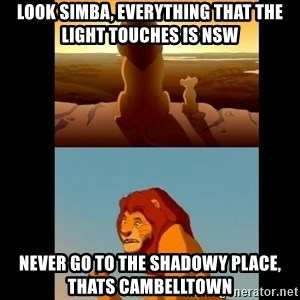 Lion King Shadowy Place - look simba, everything that the light touches is nsw never go to the shadowy place, thats cambelltown