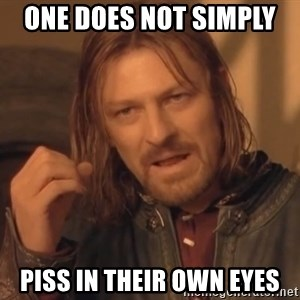 Aragorn - one does not simply  piss in their own eyes
