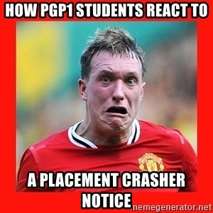 Phil Jones Scared Face - How PGP1 students react to a Placement Crasher Notice