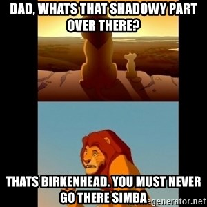 Lion King Shadowy Place - Dad, whats that shadowy part over there? Thats birkenhead. You must never go there simba