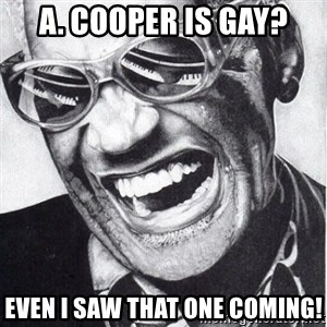 ray charles - A. Cooper is gay? even i saw that one coming!