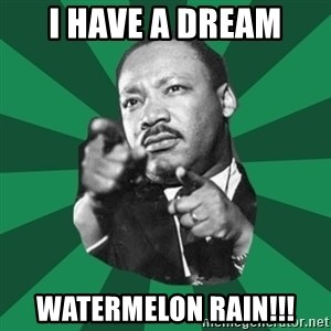 Martin Luther King jr.  - I HAVE A DREAM Watermelon rain!!!