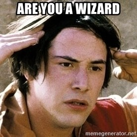 Confused Keanu Bill and Ted - ARE YOU A WIZARD