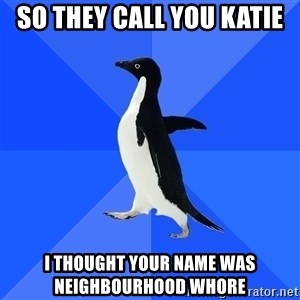 Socially Awkward Penguin - So they call you Katie I thought your name was Neighbourhood whore